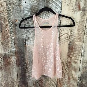 Free People sequin racerback sheer tank top small